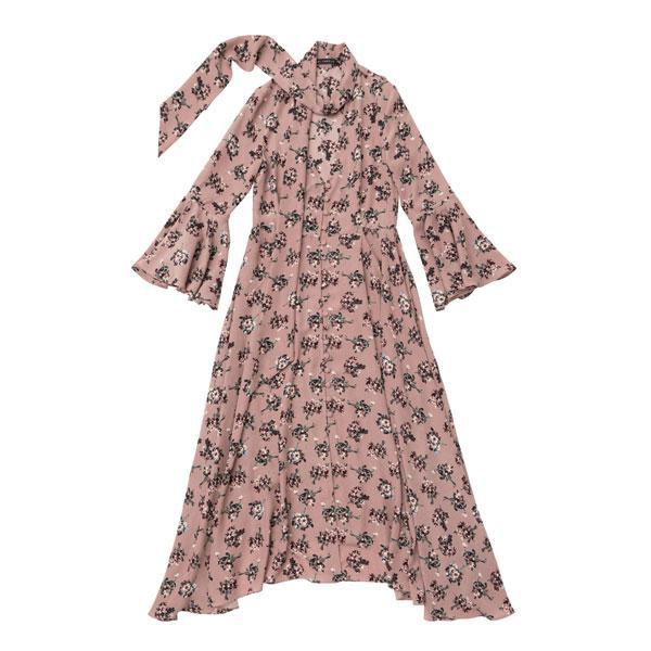 asymmetry hem flower dress