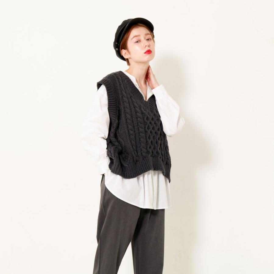 back ribbon knit vest