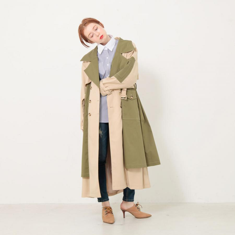 bicolor trench coat