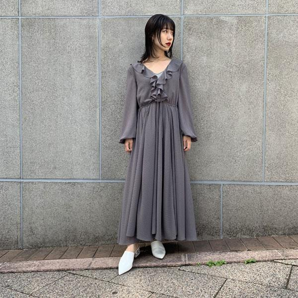 dot design long dress