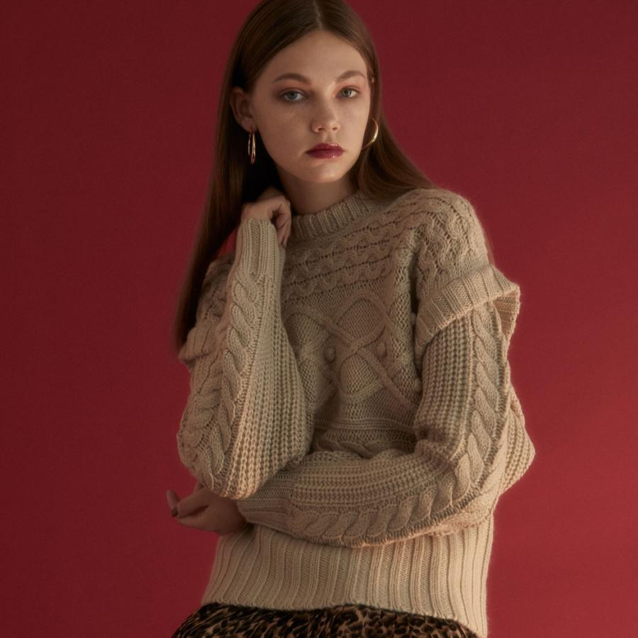 shoulder rib cable knit