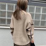 leather line cable knit